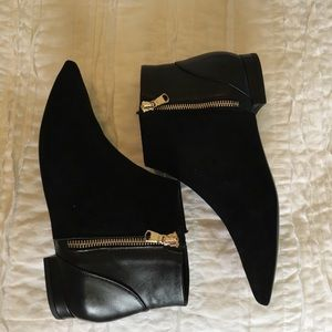 NWT K. Spin Black Suede and Leather Zip Ankle Boot